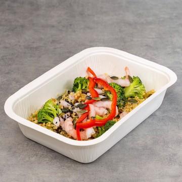 Lunsjsalat med reker, cous cous og brokkoli